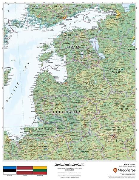Amazon.com : Baltic States - 17 x 22 inches - Matte Plastic - Wall ...