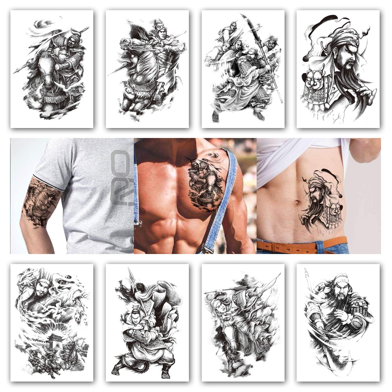 c8aa7db9e9ac9 Amazon.com : Kotbs 8 Sheets Temporary Tattoos for Men Boys Game of the  Three Kingdoms Thrones Roles Waterproof Tattoo Stickers Body Art Arm Fake  Tatoo : ...