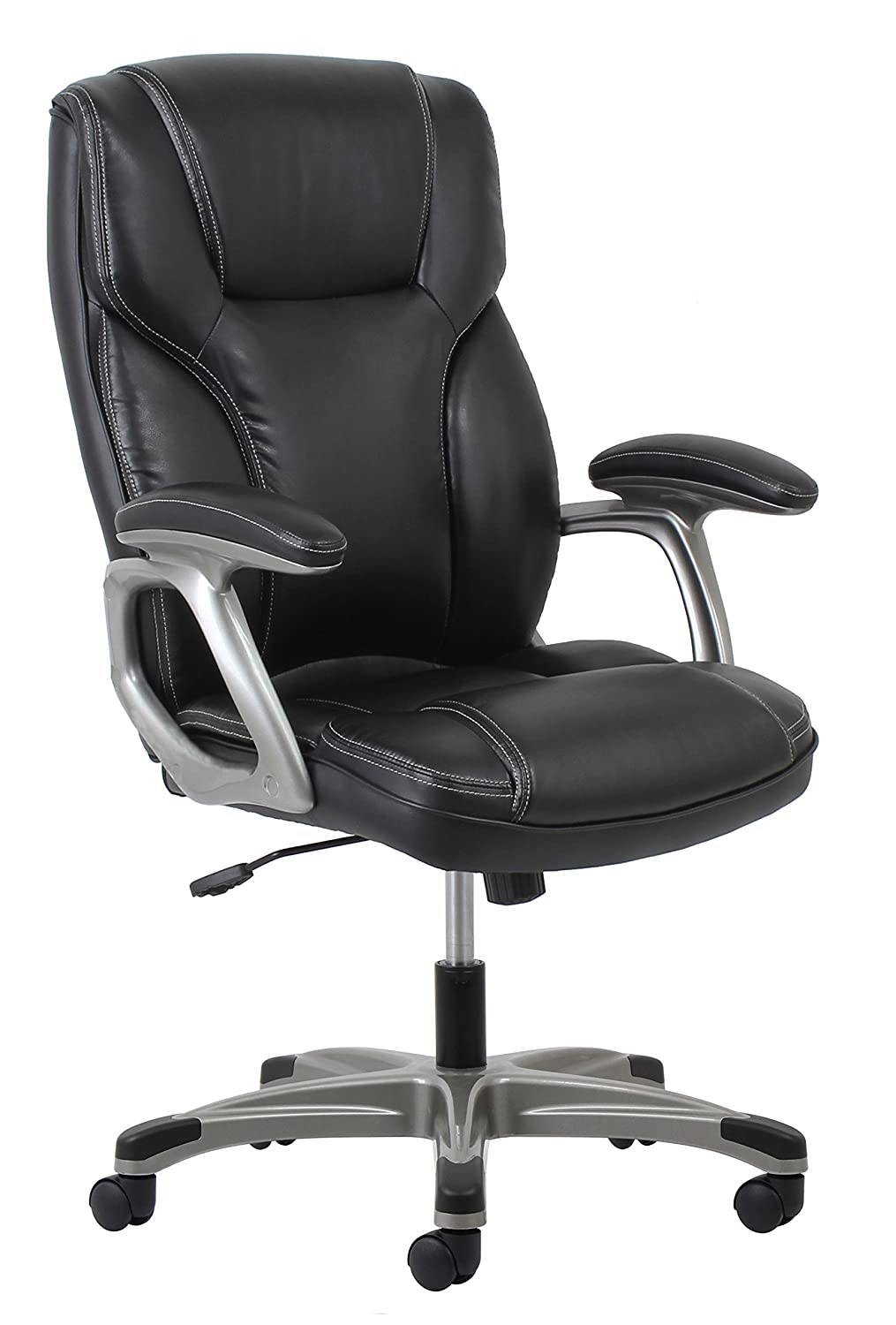 Essentials High-Back Leather Executive Office-Computer Chair with Arms - Ergonomic Swivel Chair (ESS-6030-BLK)