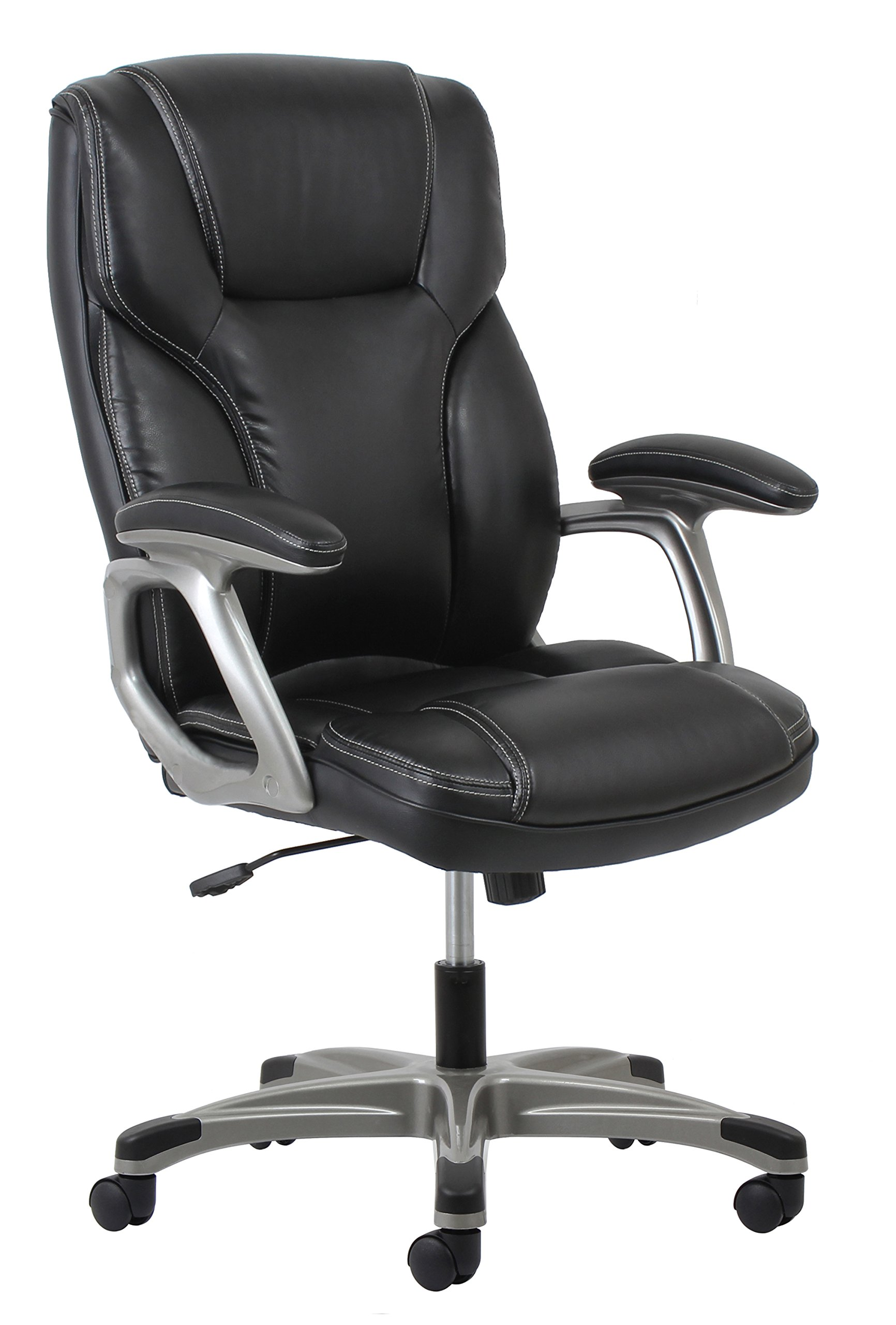 Essentials High-Back Leather Executive Office/Computer Chair with Arms - Ergonomic Swivel Chair (ESS-6030-BLK) by OFM