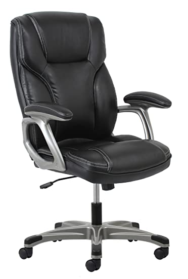 Essentials High Back Leather Executive Office/Computer Chair With Arms    Ergonomic Swivel Chair
