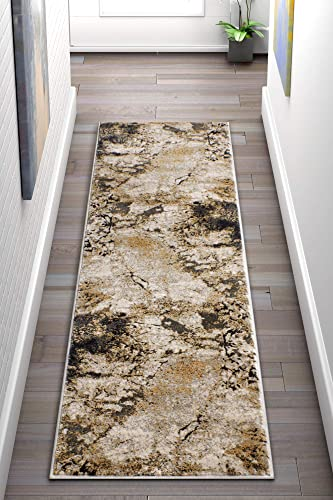 Well Woven Splash Gold Grey Modern Abstract Geometric Paint Brush Stroke 2×7 2 3 x 7 3 Runner Area Rug Neutral Vintage Thick Soft Plush Shed Free