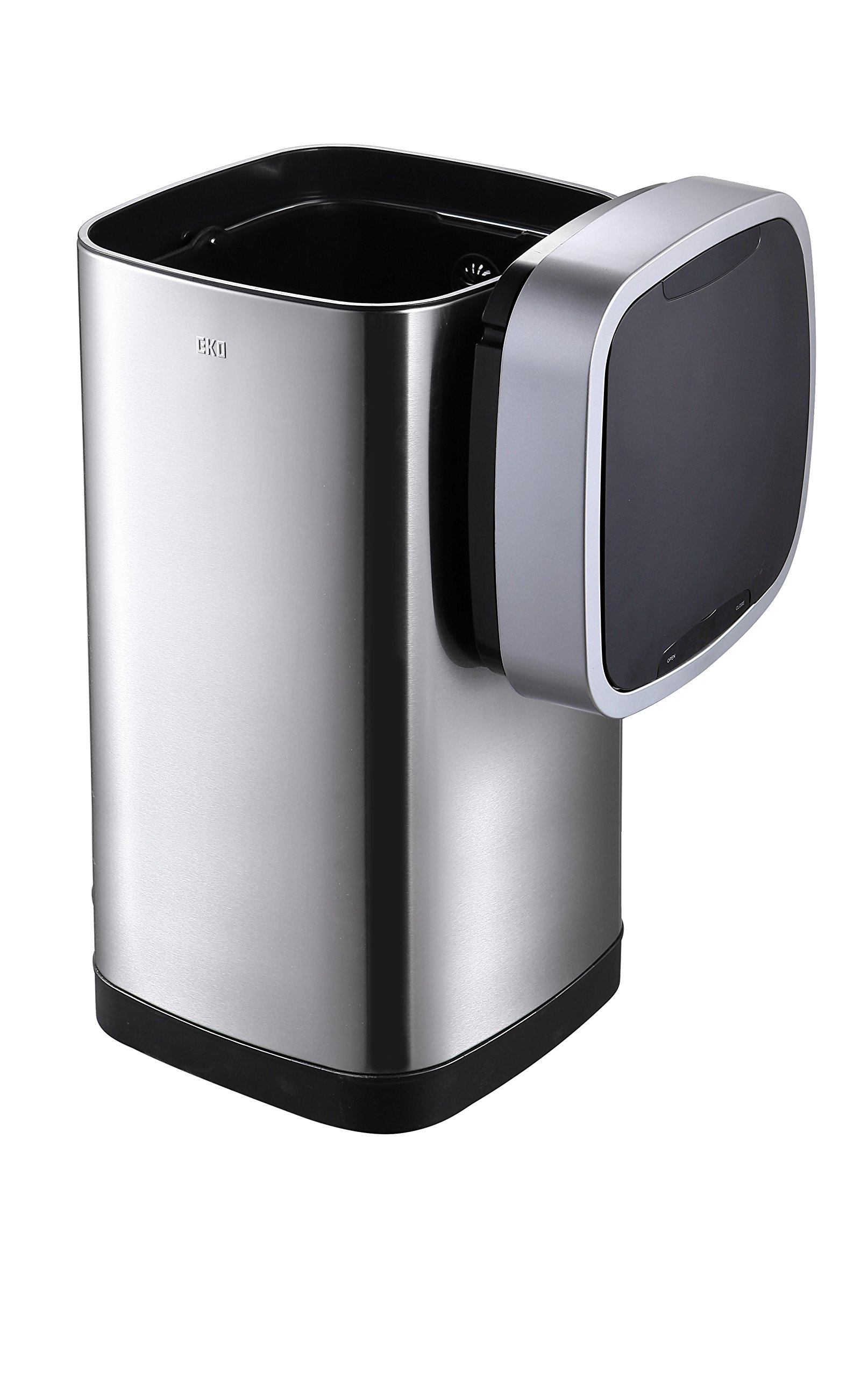 EKO 50-Liter Stainless Steel Metal Indoor Touchless Trash Can with Lid