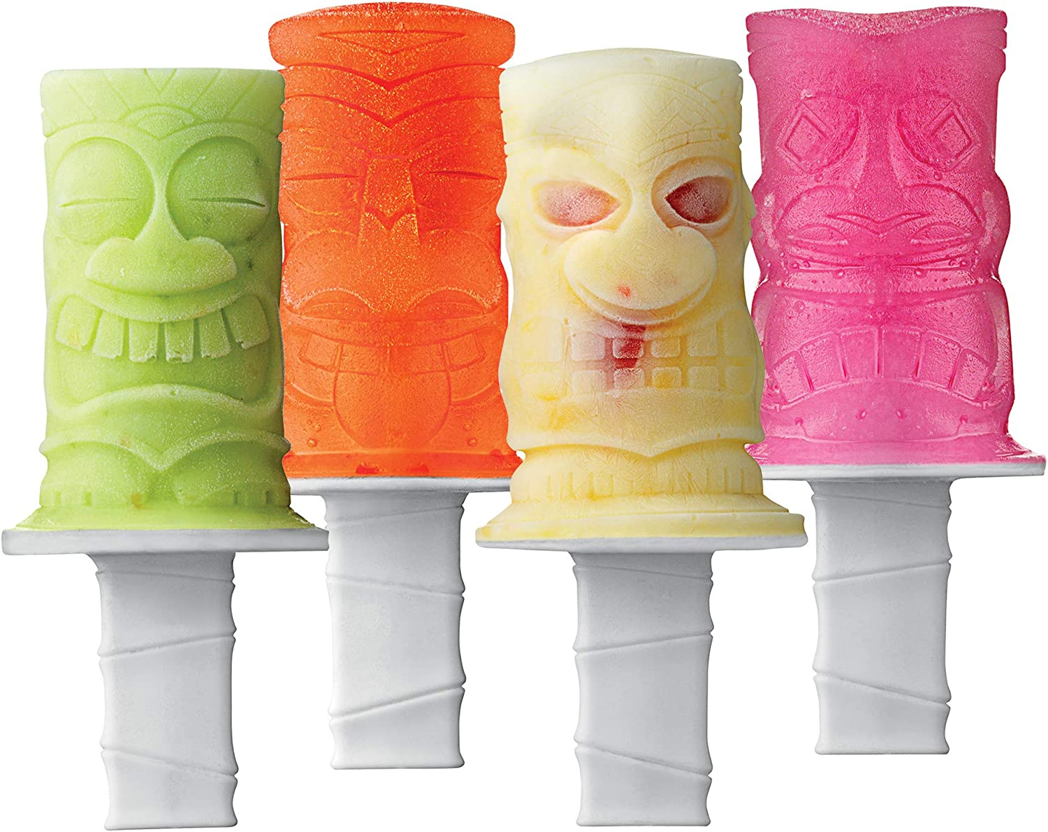 Tovolo Tiki Ice Pop Molds, Flexible Silicone, Dishwasher Safe, Set of 4 Popsicle Makers with Sticks