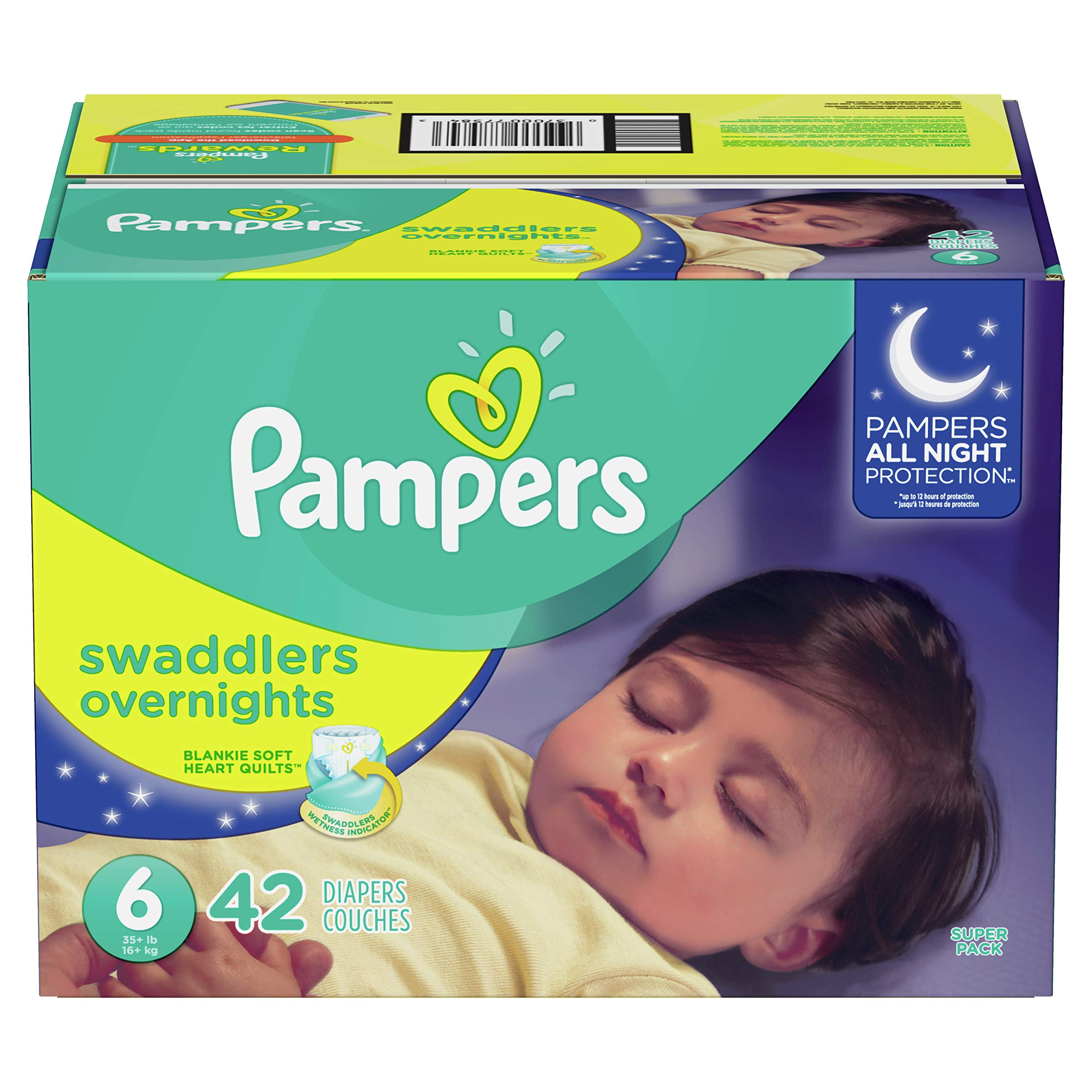 Diapers Size 6, 42 Count – Pampers Swaddlers Overnights Disposable Baby Diapers, Super Pack