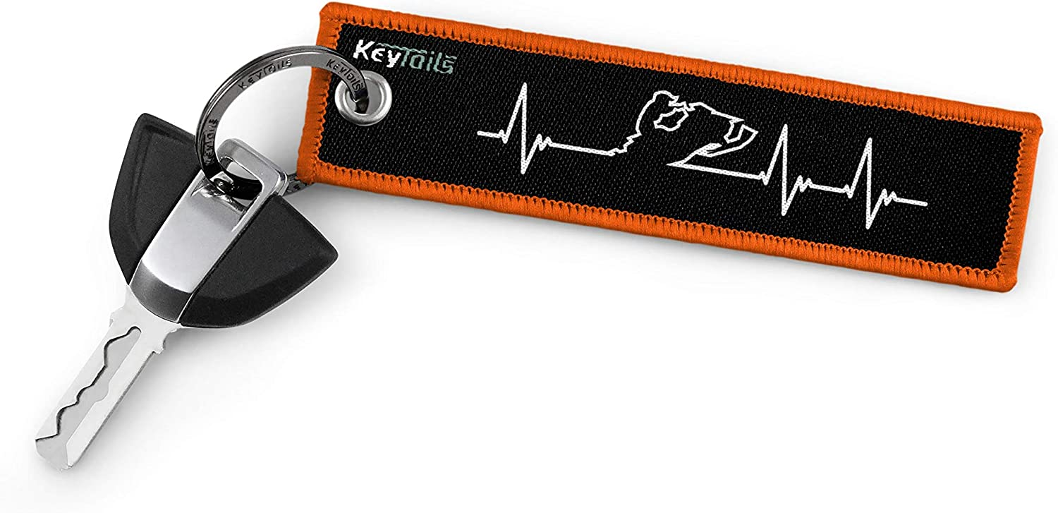 Snowmobile - Heartbeat KEYTAILS Keychains Sled Premium Quality Key Tag for Snowmobile