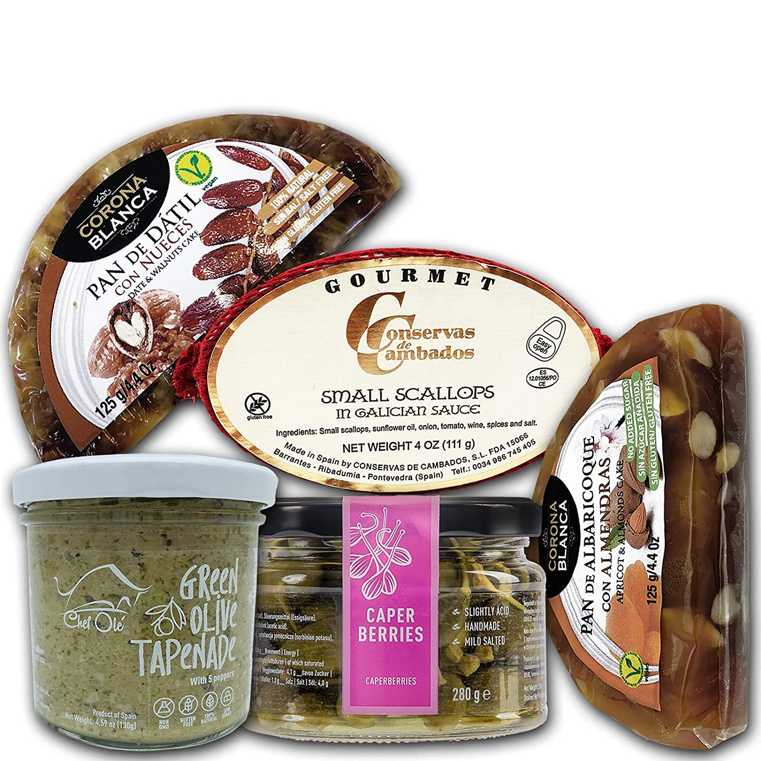 A Healthy Gourmet selection of 5 Artisan appetizers from Spain. Foodies, this One is for You. Time to Upgrade Your Snack.Natural.Non-Gmo.Low Sugar.No-Additives.Gluten-Free.Triana Tapas Ready.