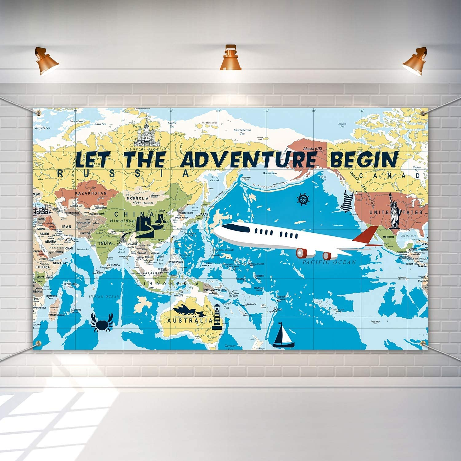Adventure Awaits Backdrop Large Travel Theme Banner Decoration Let The Adventure Begin World Map Dessert Table Background Photobooth Prop 6 x 3.6 Feet