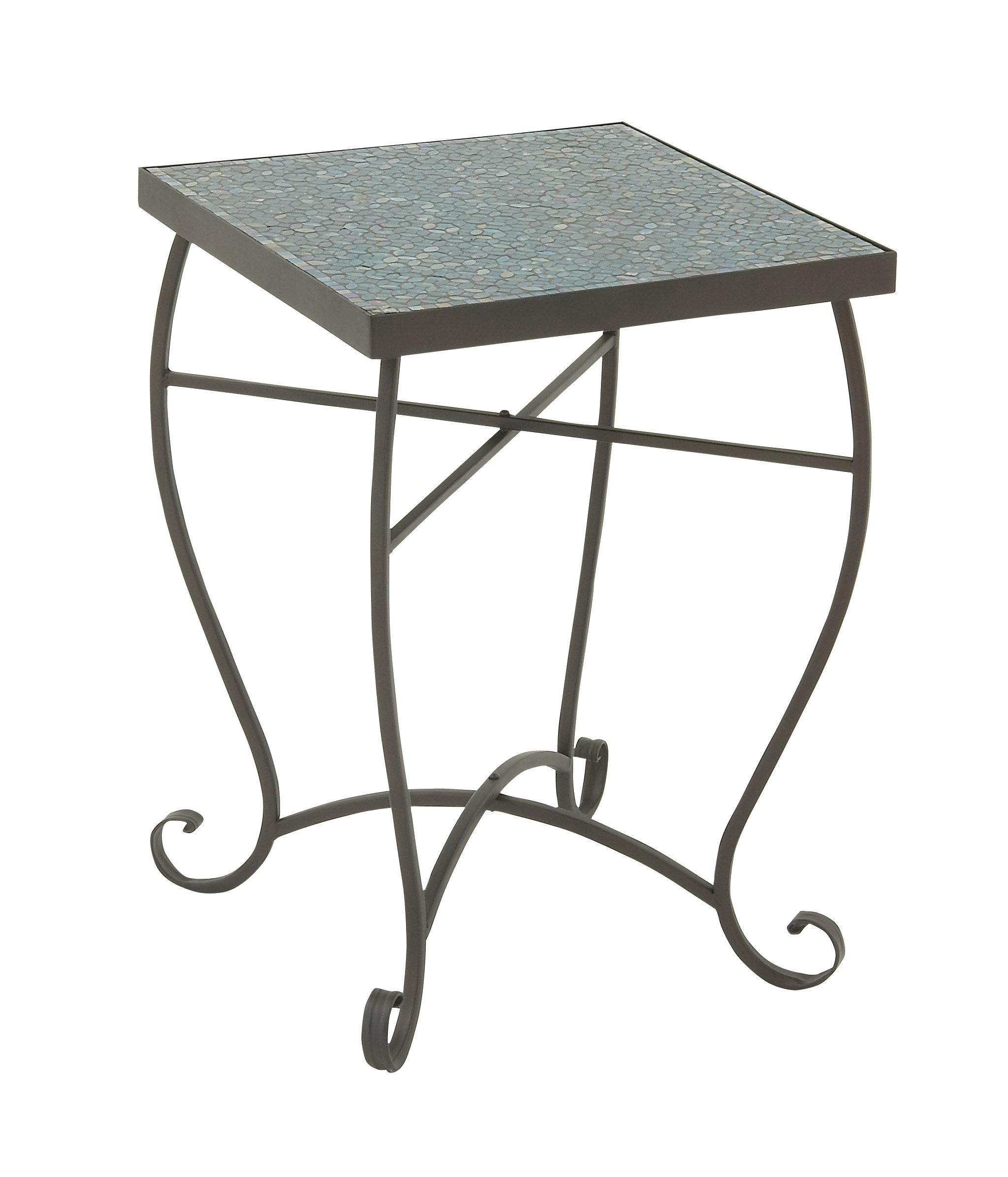 Deco 79 23987 Metal Mosaic Accent Table, 16'' x 23'', Turquoise