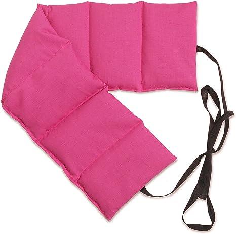Cuscini Riscaldanti Con Semi.Cuscino Con Semi Di Lino 65x15cm Rosa 7 Tasche Con Banda Da