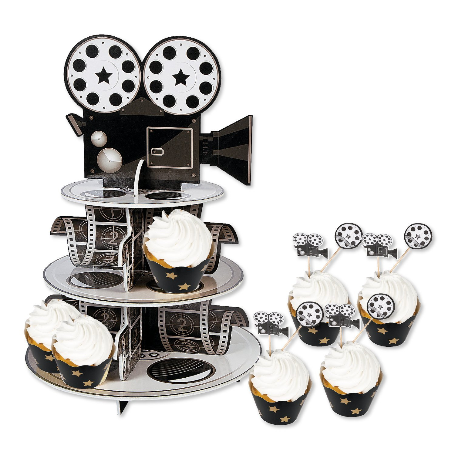 Hollywood Movie Night Party Supplies - Cupcake Stand with Wraps and Picks