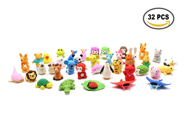 Set da 32 pezzi, collezione di adorabili gomme per matita a forma di animali dello zoo, regalo per bambini e per San Valentino SPADORIVE