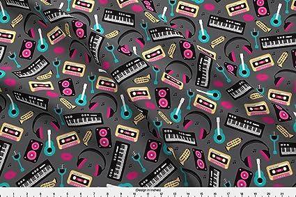 Música tela – Retro música y letra Jazz ilustración patrón por littlesmilemakers – música tela con