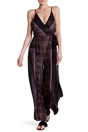 da50bb20bb5 Amazon.com  Free People Women s Cabbage Rose Satin Jumpsuit in Black Combo   Clothing