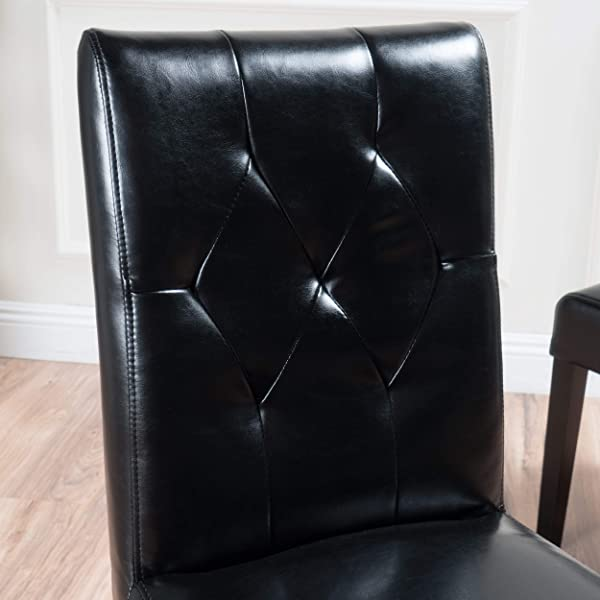 Waldon Black Leather Dining Chairs w/Tufted Backrest (Set of 2)