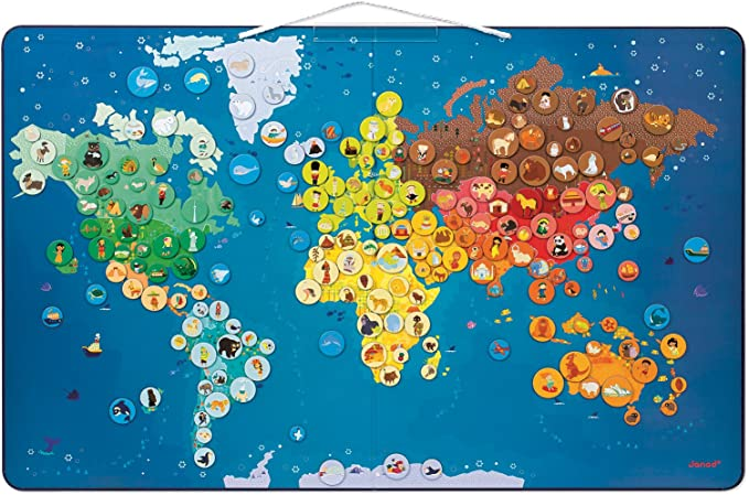 Janod - Mapa del Mundo magnético con Animales (J02889): Amazon.es ...