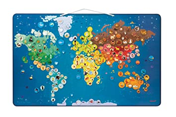 Amazoncom Janod Animals Magnetic World Map Toys Games - Magnetic us map puzzle janod