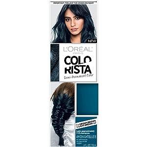 L'Oreal Paris Colorista Semi-Permanent Hair Color for Brunette Hair, Midnight blue