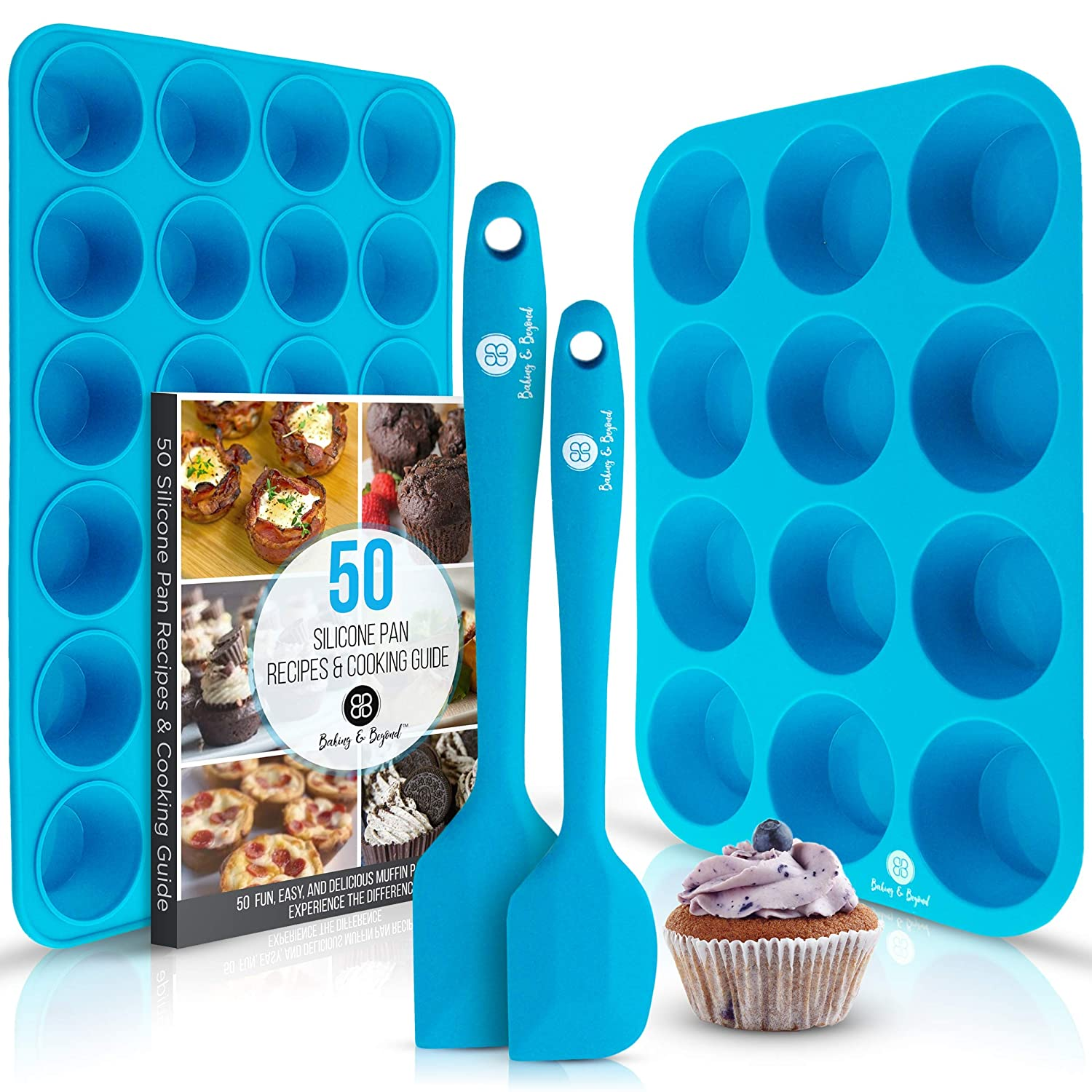 Silicone Muffin and Cupcake Pans - Large 12 Cup Muffins Tray, 24 Cups Mini Cupcakes Pan, 2 Spatulas, Recipe E-book by B&B  Non Stick Baking Molds Set   Oven & Dishwasher Safe