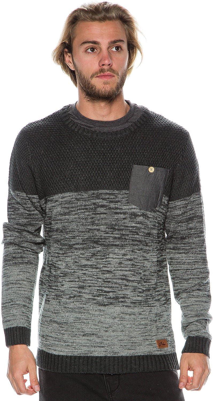 New Rusty Men's Yeah Nah Crew Sweater Cotton Pu Acrylic Grey