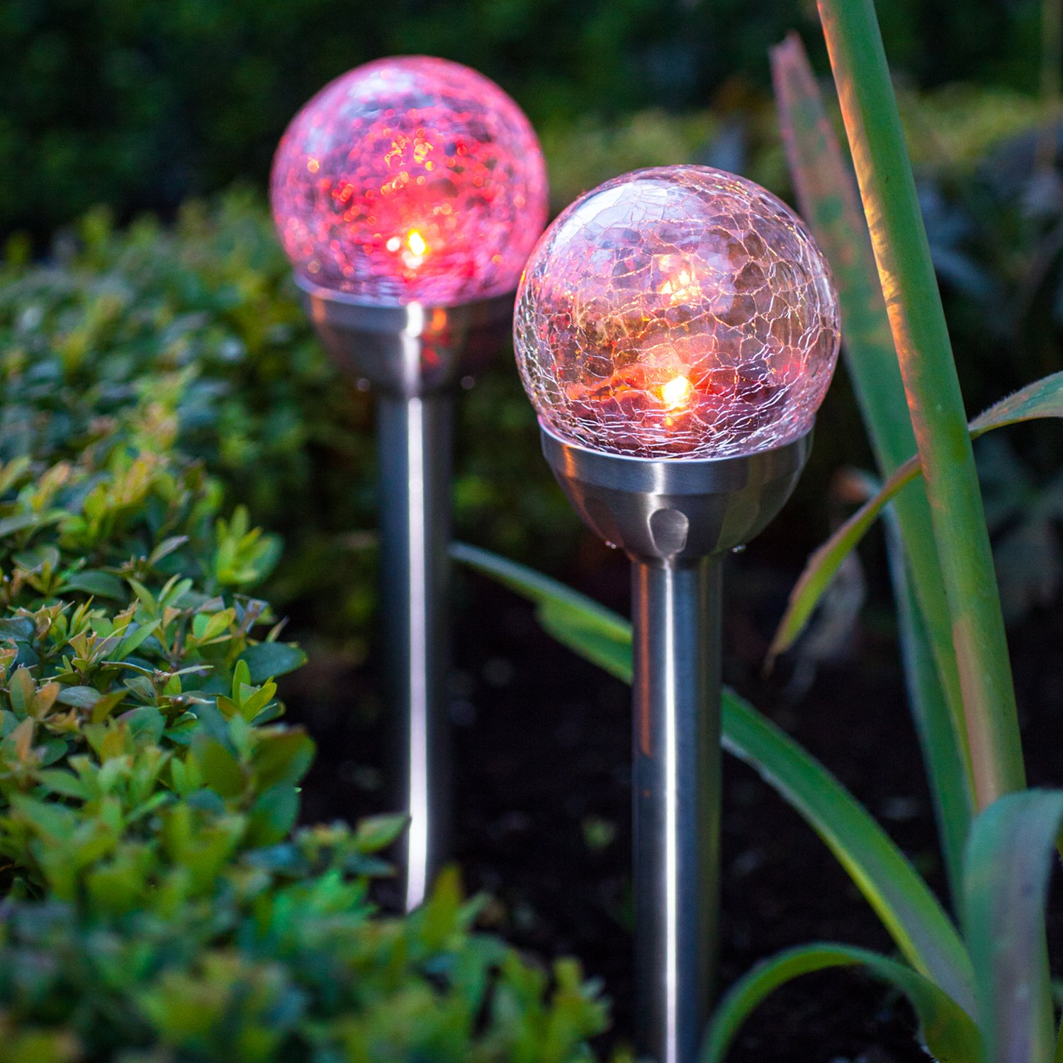 Set of 2 colour changing led crackle glass ball solar garden stake set of 2 colour changing led crackle glass ball solar garden stake lights by lights4fun amazon garden outdoors aloadofball Choice Image