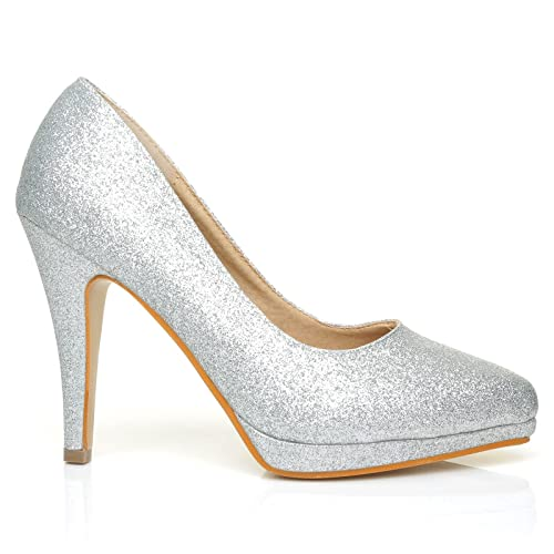 ed6cbe790d47 Emma Silver Glitter Stiletto High Heel Platform Pointed Shoes:  Amazon.co.uk: Shoes & Bags