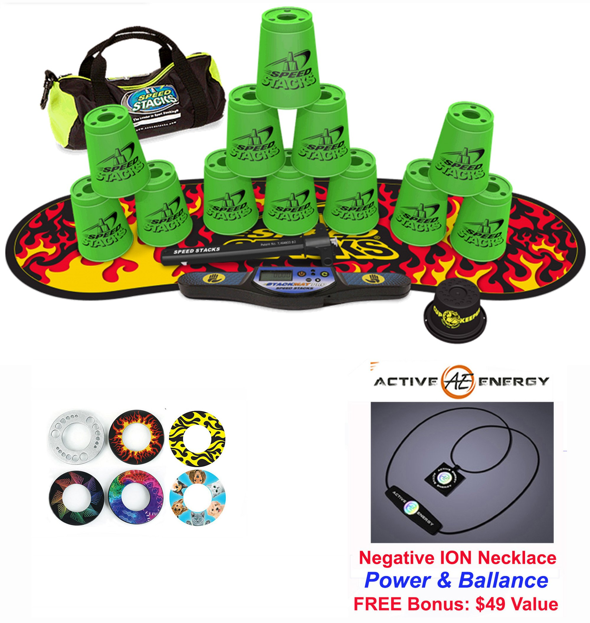 Speed Stacks Custom Combo Set - The Works: 12 GREEN 4'' Cups, Cup Keeper, Quick Release Stem, Pro Timer, Gen 3 Premium Black Flame Mat, 6 Snap Tops, Gear Bag + FREE: Active Energy Power Necklace $49