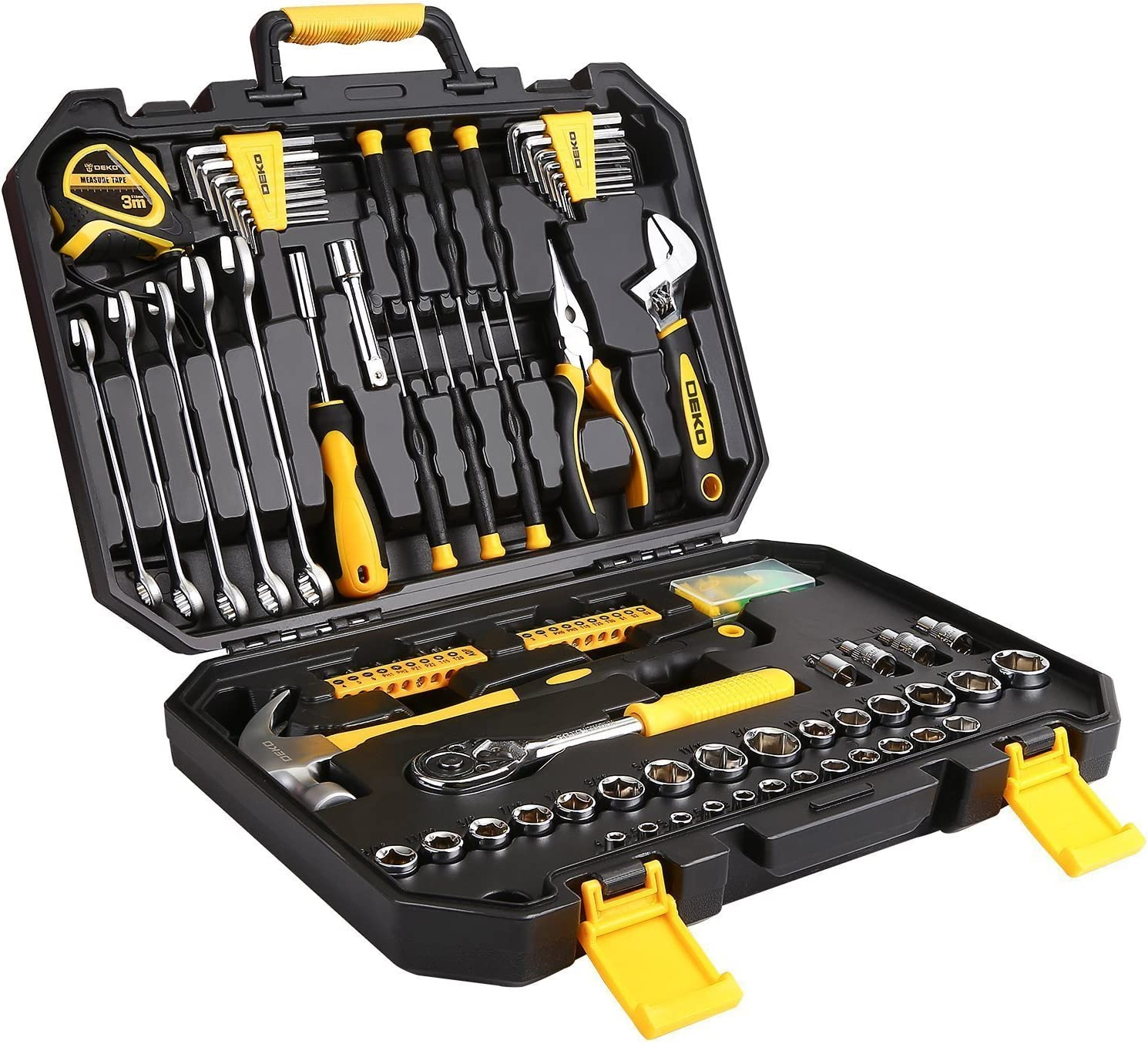 DEKOPRO 128 Piece Tool Set-General Household Hand Tool KitS, Plastic Toolbox Storage Case with Auto Repair Tool Set