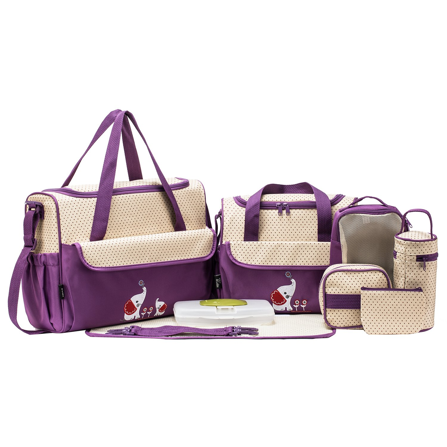 SOHO Collections Diaper Bag Set (Lavender with Elephant), 10 Pieces by SoHo Designs