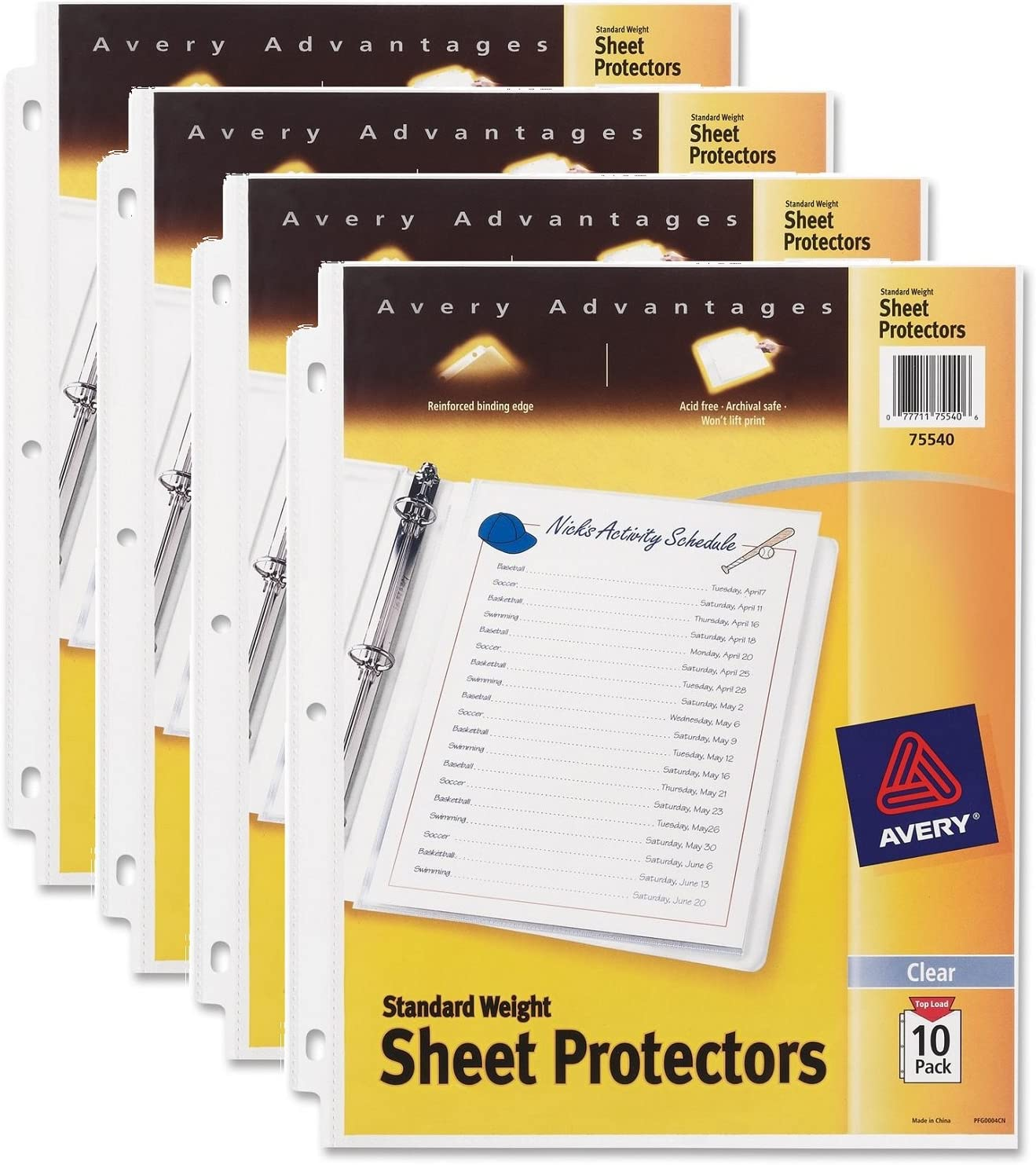 Avery Standard Weight Sheet Protectors, 10 Count, Pack of 4 (75540)