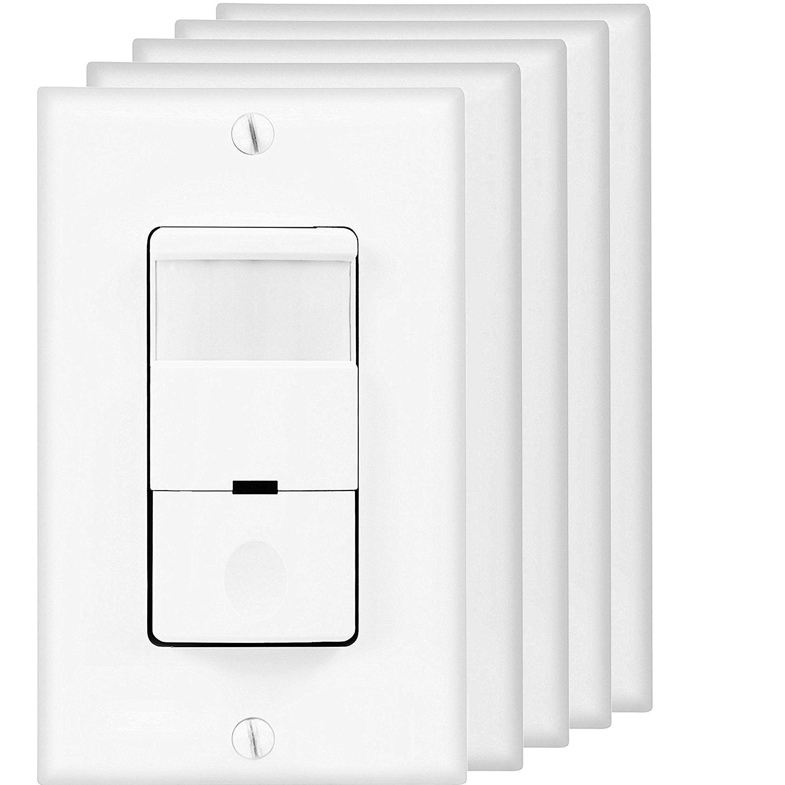 Top Greener TDOS5-W-5PCS Occupancy Sensor Switch, PIR Motion Sensor Switch, Motion Detector Switch, Light Switch Sensor (Pack of 5)