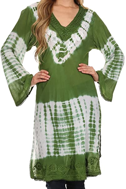 Sakkas 13298 -Aaheli Pareo/Blusa / Top túnica degradada - Verde - One Size