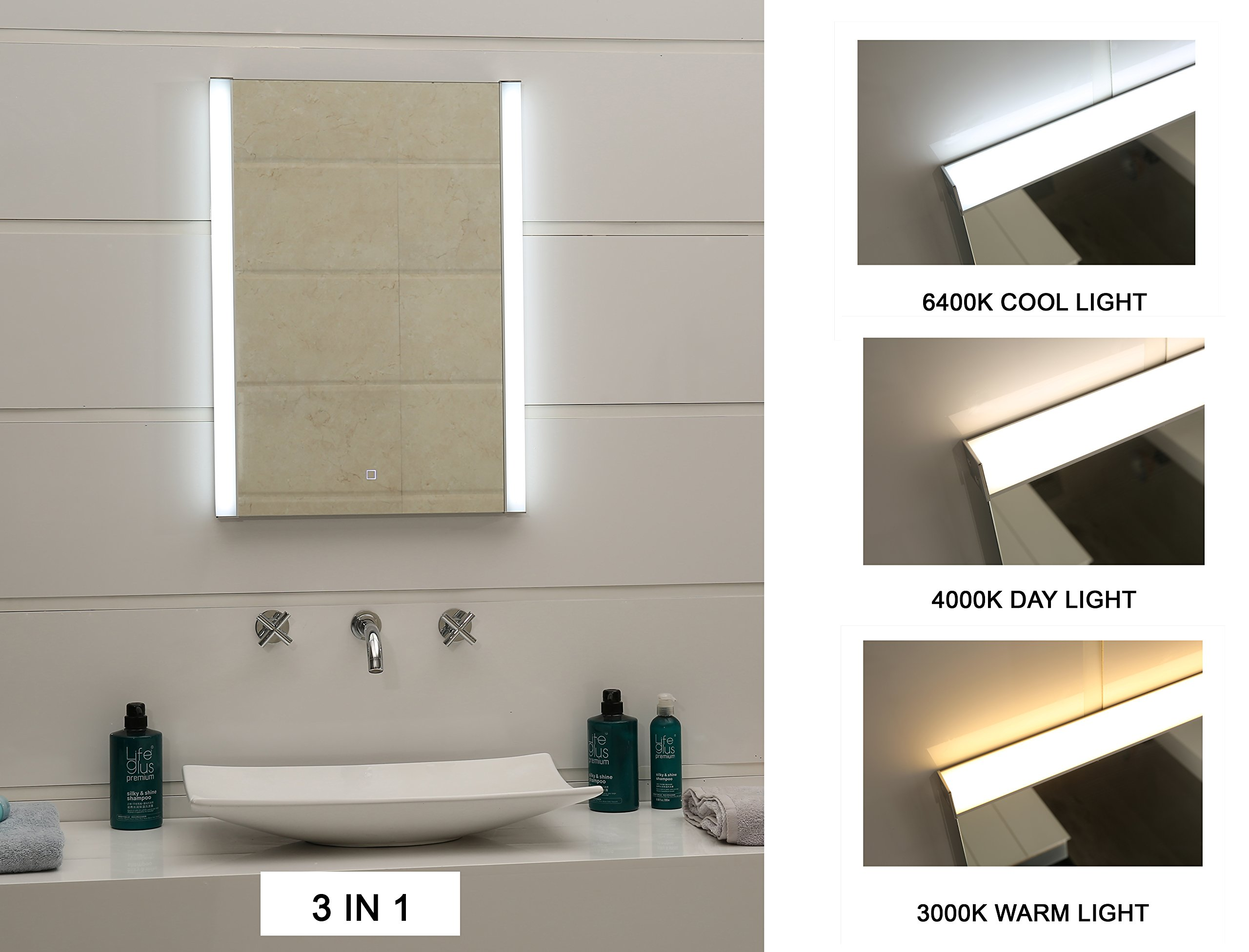 24X31.5 Inch Super Bright LED Light Changeable Bathroom Mirror With Touch Switch (GS100T-24315)