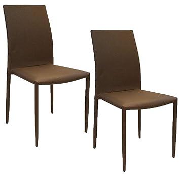 Abitti Pack 2 sillas tapizadas Color marrón Tela Asiento y Respaldo ...