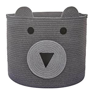 "COMEMORY Cotton Rope Storage Basket with Cute Bear Design, Foldable Rope Bin Basket, Decorative Animal Basket for Toys, Blanket, Towels, Clothes, 12""(D) x 10""(H)"