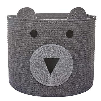 Woven Laundry Hamper H Nursery /& Living Room Cotton Rope Basket x 12 Bear Basket D Cute Storage Bin in Bedroom 10