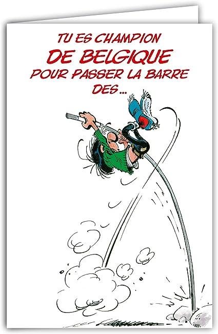 Carte Anniversaire Gaston Lagaffe Belgique 1 Un An De Plus Amazon Fr Fournitures De Bureau