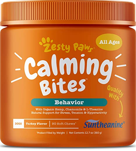 Zesty Paws Calming Bites for Dogs - Anxiety Composure Relief with  Suntheanine - Organic Kelp & Valerian Root + L Tryptophan for Dog Stress &