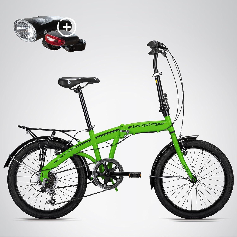 Escalador Windsor 20 pulgadas bicicleta plegable, con ruedas, cambio de marchas Shimano 6, LED batería de luz, Quick de sistema de Fold, bicicleta plegable, ...