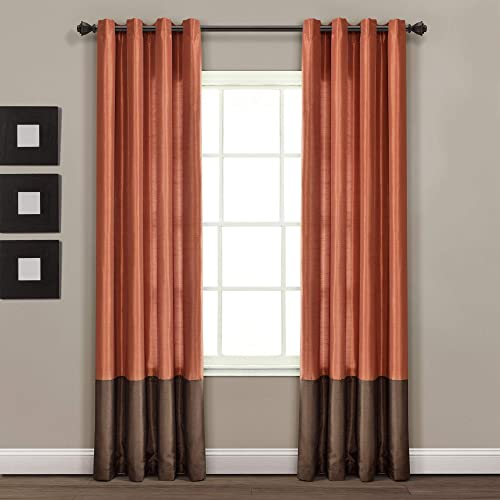 Lush Decor, 54 x 95, Brown Rust White Gray Prima Window Curtains Panel Set for Living, Dining Room, Bedroom Pair , 54 x 84-inch, L