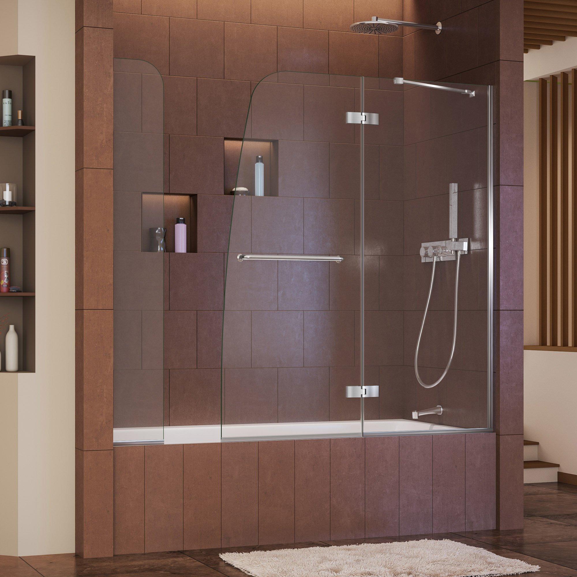 DreamLine Aqua Ultra 57-60 in. Width, Frameless Hinged Tub Door, 5/16'' Glass, Chrome Finish