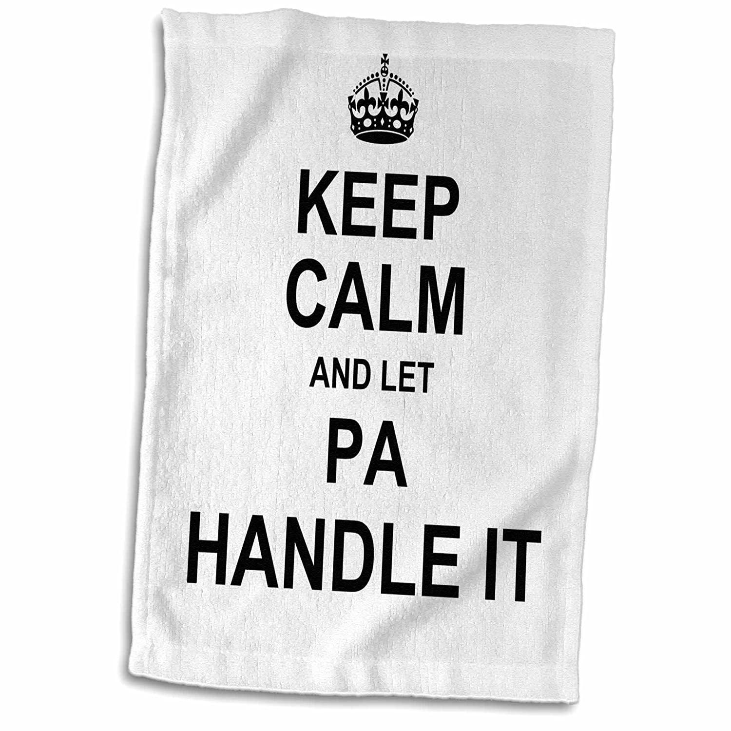 3D Rose Keep Calm and Let Pa Handle It-Funny Fun Fixer Dad Hand Towel 15 x 22