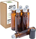 6 Amber Essential Oil Roller Bottles - Metal Rollers - FREE Recipe eBook for Roll-ons! - Useful for Aromatherapy - Mix with Fractionated Coconut, Jojoba, Almond and Carrier Oils - Solid Amber Glass