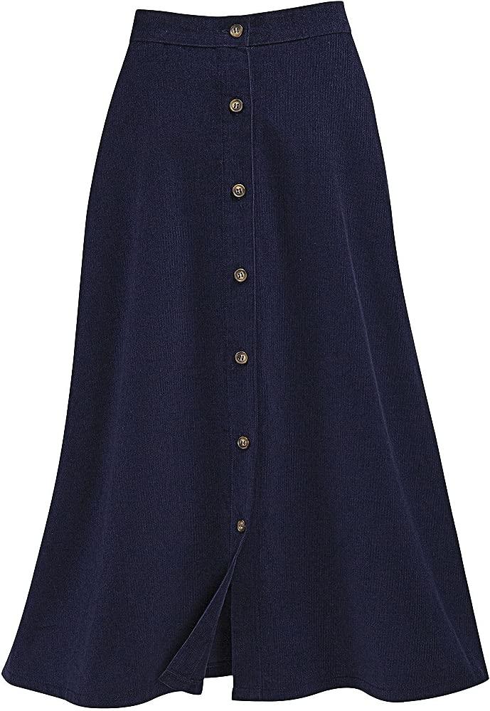 Falda de pana con botones delanteros, azul marino, 16P: Amazon.es ...