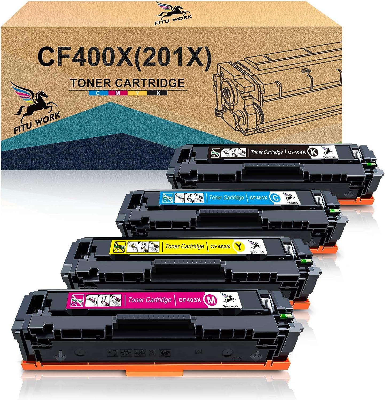 FITU WORK Compatible Reemplazo para HP 201X CF400X CF401X CF402X CF403X Cartucho de tóner trabajado para HP Color LaserJet Pro MFP M277dw, M252dw, MFP-m277n, M277w, M252w, M252n (4 paquetes): Amazon.es: Electrónica