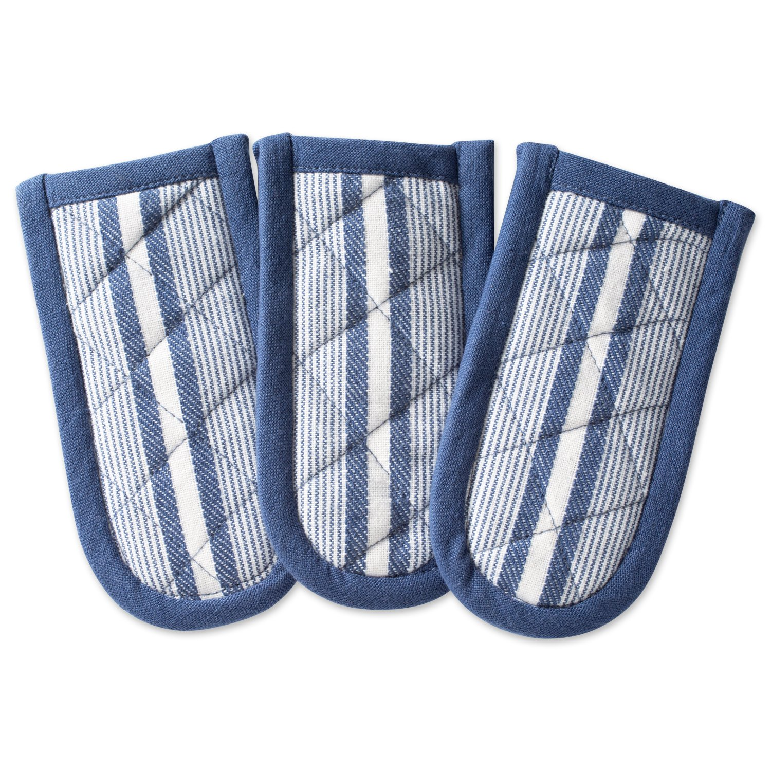 """DII Cotton Stripe Quilted Pan Handle, 6x 3"""" Set of 3, Machine Washable and Heat Resistant for Everyday Kitchen Cooking and Baking-French Blue"""