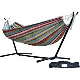 Vivere Double Polyester Hammock with Space-Saving Steel Stand, Ciao