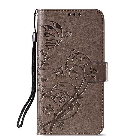Unisnug Carcasas Tapa Funda Billetera para Xiaomi Mi A1 Fundas Dura Carasa Protector Xiaomi Mi A1 Cuero-Gris
