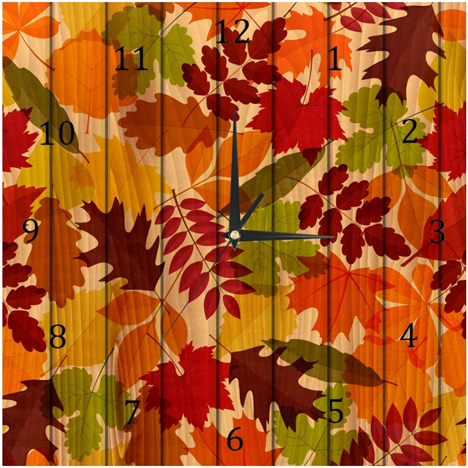 AISSO Wall Clocks Autumn Fall Leaves on Wooden Board Battery Operated Number Clock for Bedroom Living Kitchen Office Home Decor Silent & Non-Ticking