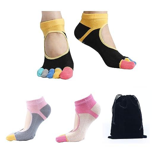 b85415800 Snailify Women's Yoga Socks Non Slip Grips Anti Skid Full Toe Low Cut Socks  for Women